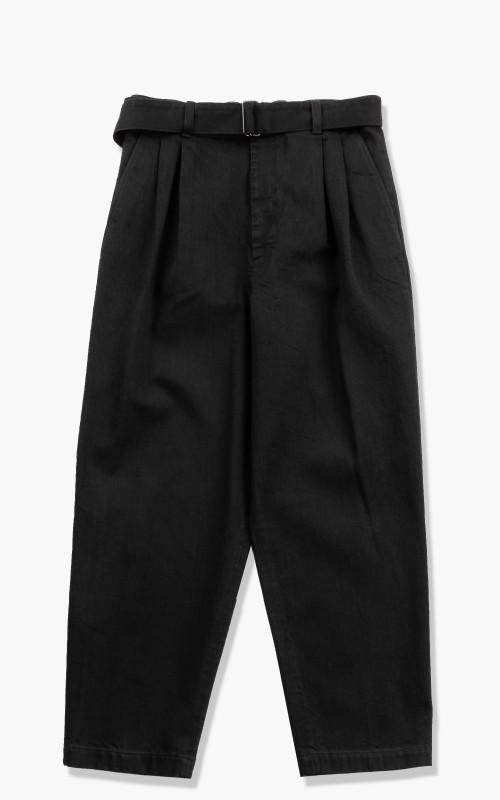 stein Belted Wide Straight Denim Trousers Black