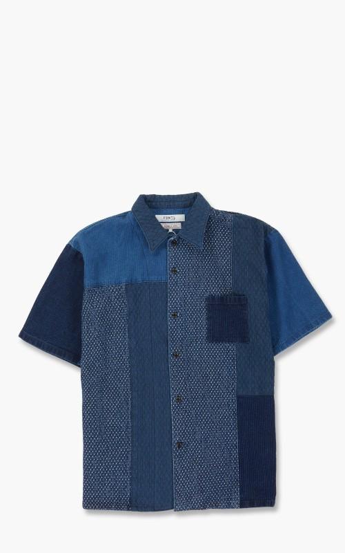FDMTL Patchwork S/S Shirt 3 Year Wash Indigo