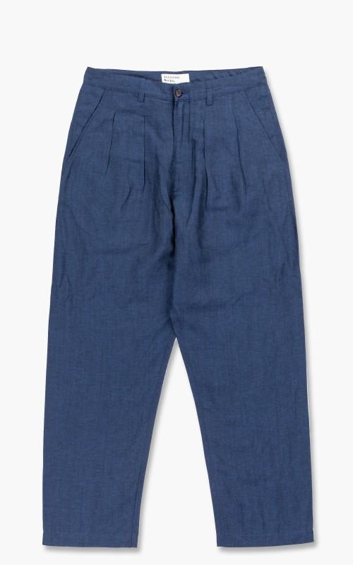 Universal Works Double Pleat Pant Linen Mix Blue