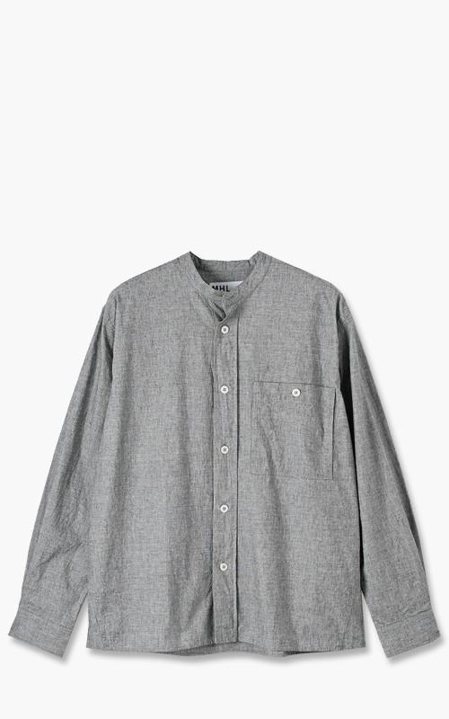 Margaret Howell MHL. Collarless Painters Shirt CTN Linen End on End Grey