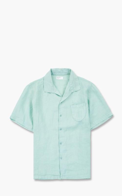 Universal Works Open Collar Shirt Fine Linen Cool Green