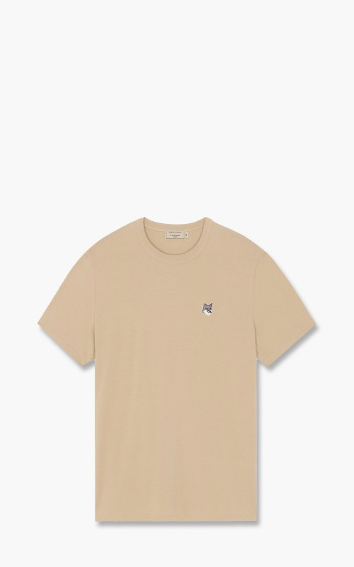Maison Kitsuné Grey Fox Patch Classic T-Shirt Beige