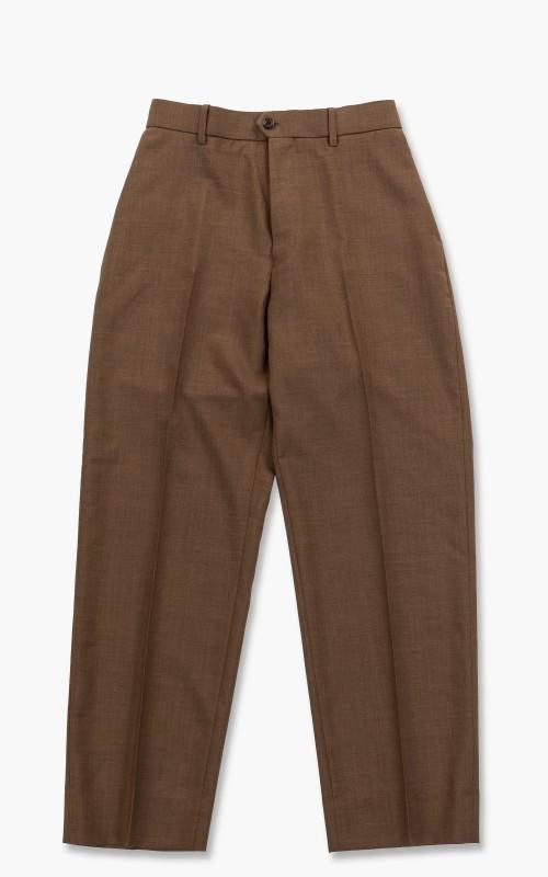 Markaware Organic Wool Tropical Flat Front Trousers Khaki