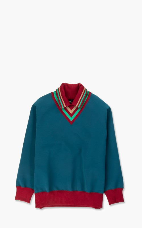 Kolor 21SCM-T01201A Asymmetrical Pullover A-Blue-Green