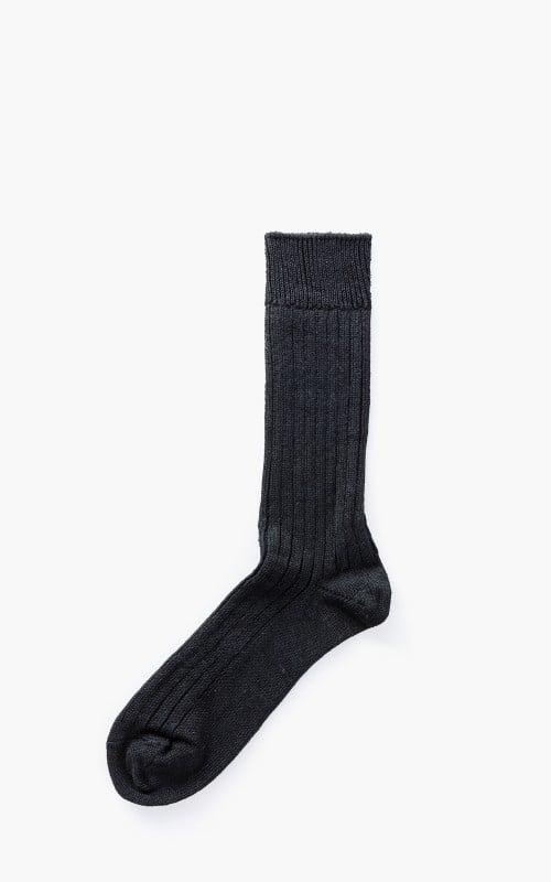 RoToTo R1010 Linen Cotton Ribbed Crew Socks Black