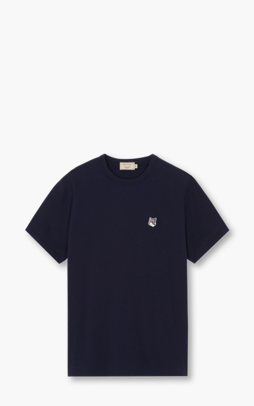Maison Kitsuné Grey Fox Head Patch T-Shirt Navy