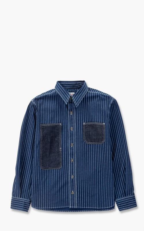 Momotaro Jeans 05-304 Denim/Wabash Jail Pocket Shirt Indigo