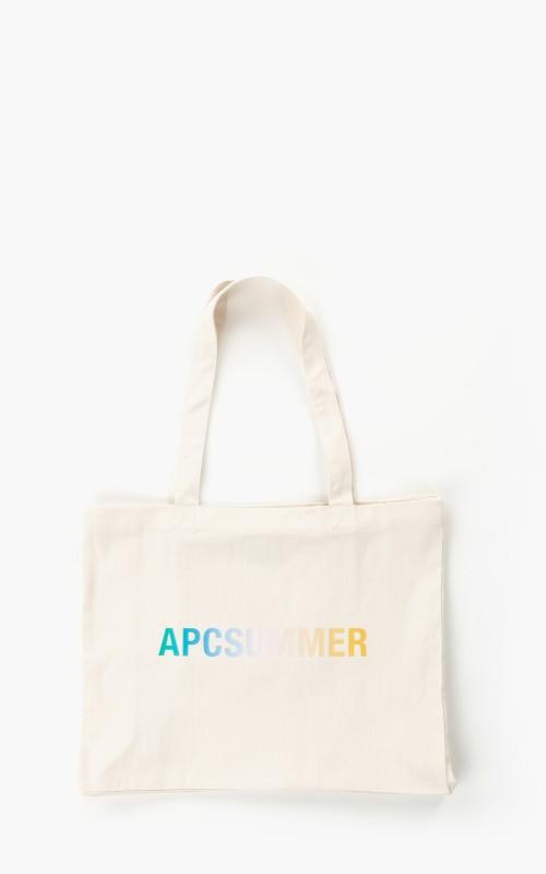 A.P.C. Diane Shopping Denim 'APC Summer' Bag Natural White