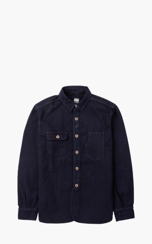 Momotaro Jeans 05-159 Herringbone Work Shirt Indigo