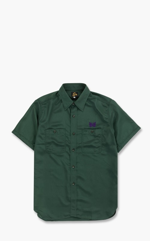 Needles S/S Work Shirt Poly Cloth Green