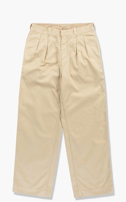 Nanamica Double Pleat Wide Chino Pants Khaki