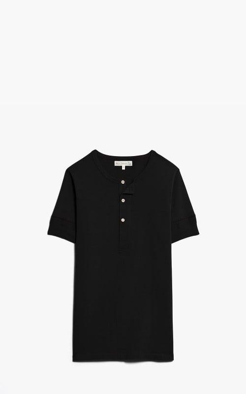 Merz b. Schwanen 207 Button Facing Shirt 1/4 Black