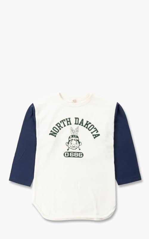 Warehouse & Co. 4800 Three Quarter Baseball T-Shirt North Dakota Cream/Navy