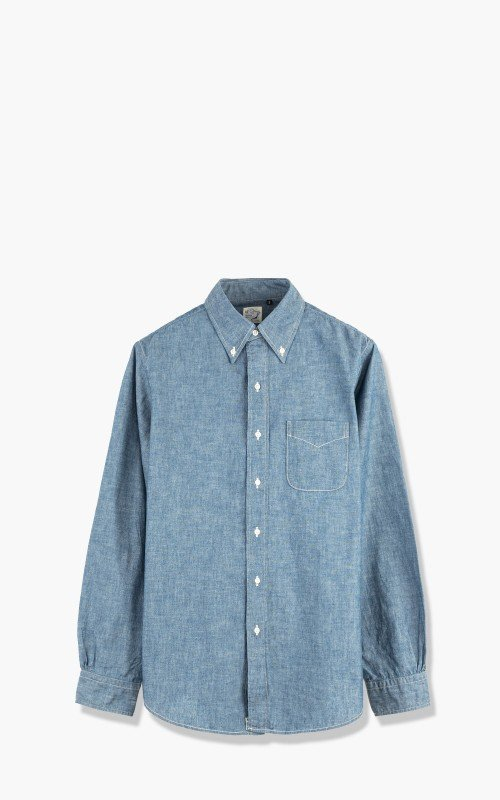 OrSlow Button Down Chambray Shirt Blue