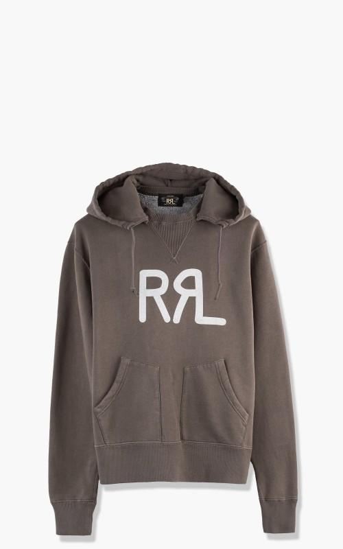 RRL Logo Knit Hoodie Faded Black