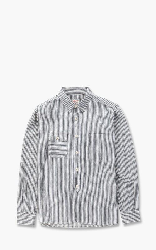 Momotaro Jeans 05-297 Selvedge Stripe Shirt White/Indigo