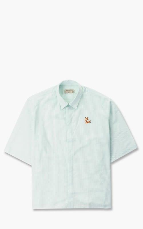 Maison Kitsuné Short Sleeves Shirt Green Stripe