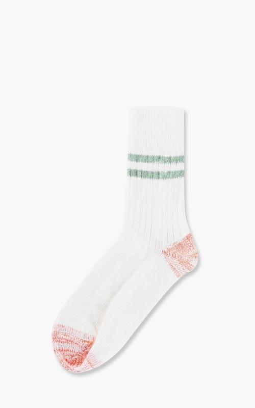 Merz b. Schwanen B75 Striped Socks White/Light Army