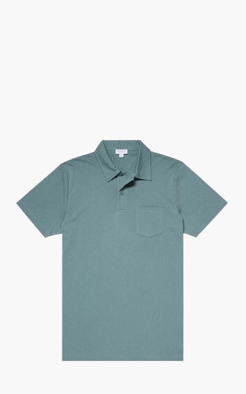 Sunspel Cotton Riviera Polo Shirt Dove Grey