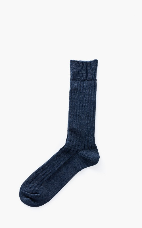 RoToTo R1010 Linen Cotton Ribbed Crew Socks Navy