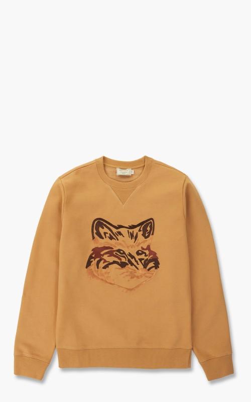 Maison Kitsuné Big Fox Embroidery Regular Sweatshirt Camel