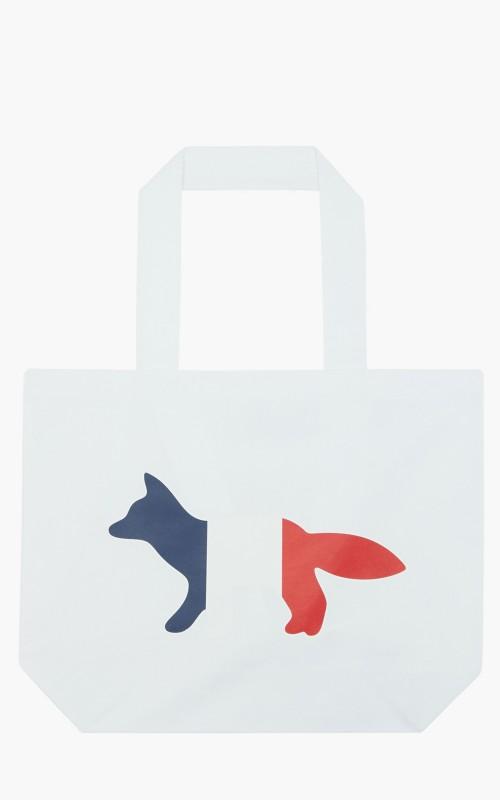 Maison Kitsuné Tricolor Fox Tote Bag White