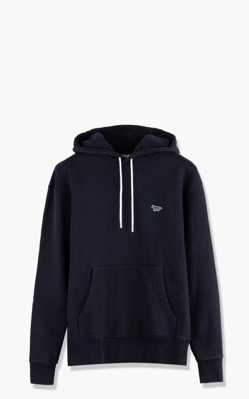 Maison Kitsuné Navy Fox Patch Classic Hooded Sweatshirt Navy