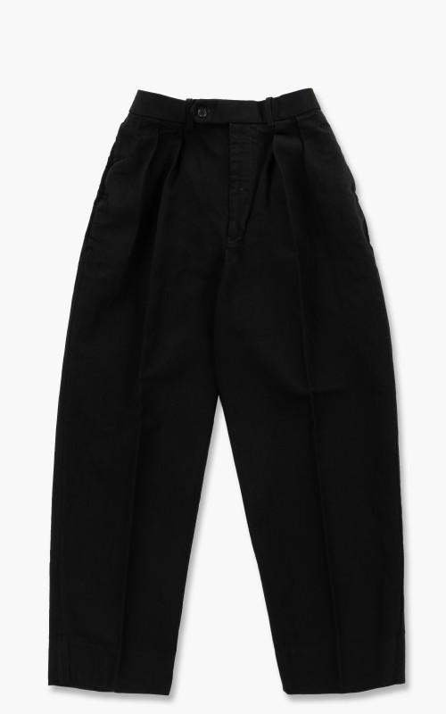 Markaware Hemp x Organic Cotton Dry Drill Double Pleated Trousers Black
