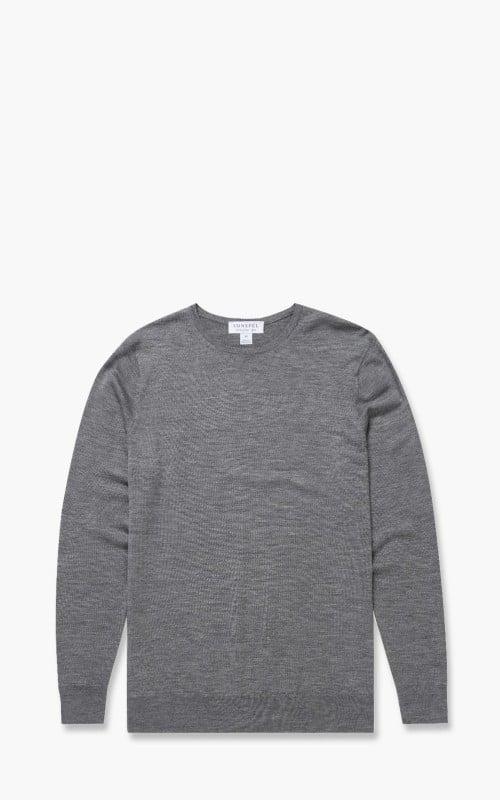 Sunspel Fine Merino Wool Jumper Mid Grey Melange