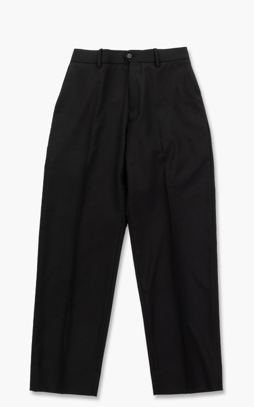 Markaware Organic Wool Tropical Flat Front Trousers Black