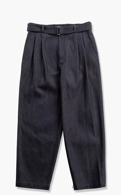 stein Belted Wide Straight Denim Trousers Indigo