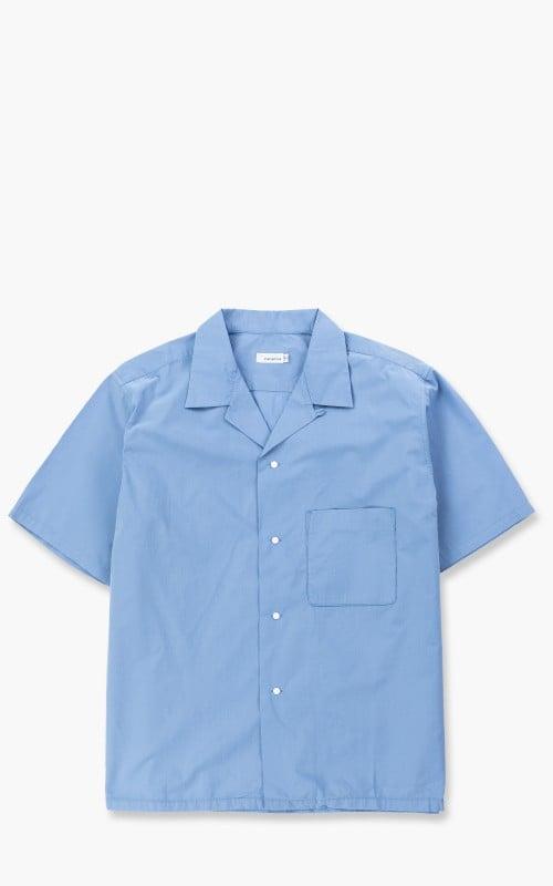 Nanamica Open Collar H/S Shirt Blue Sax