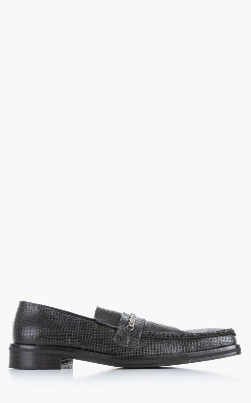 Martine Rose Square Toe Loafer Leather Embossed Snake Black