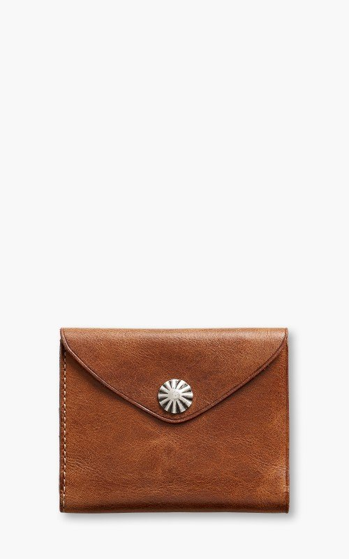 RRL Concho Card Wallet Tumbled Leather Brown