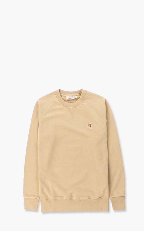 Maison Kitsuné Fox Head Patch Classic Sweatshirt Beige