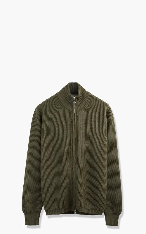 Officine Generale Full Zip Knit Sweater Merino Wool Olive