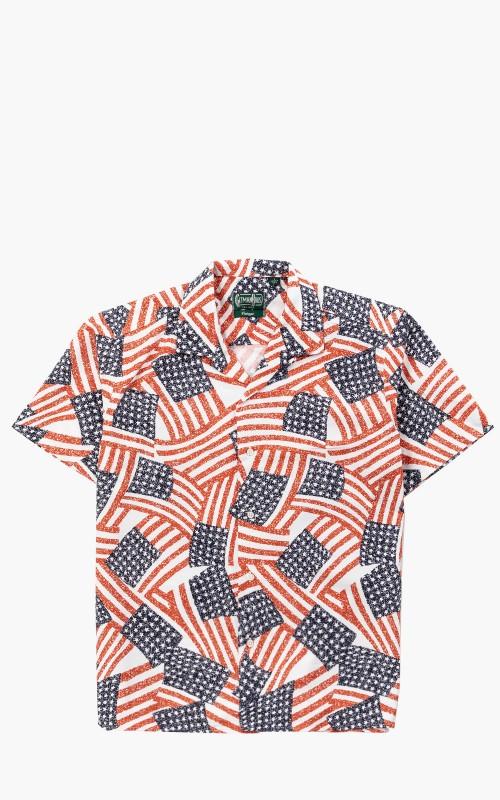 Gitman Vintage Camp Shirt USA Flag Collage