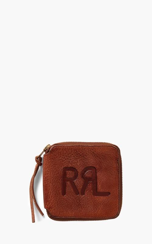 RRL Zip Wallet Tumbled Leather Dark Brown/Indigo