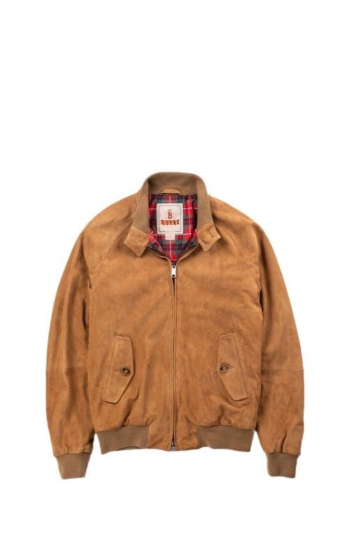 Baracuta G9 Classic Harrington Jacket Suede Tobacco
