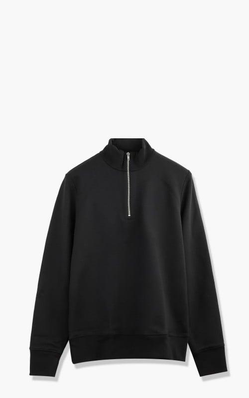 Merz b. Schwanen 343Z Sweatshirt Half Zip Mock Neck Deep Black