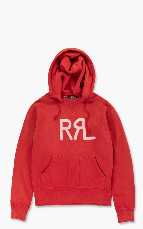 RRL Logo Fleece Hoodie Red