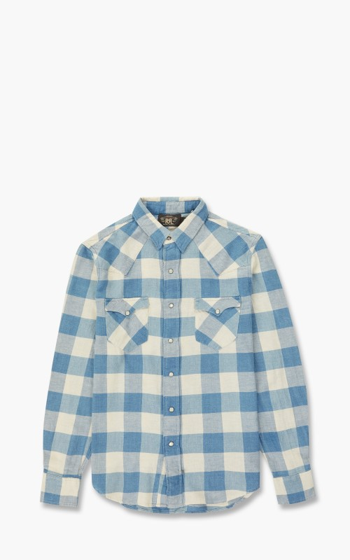 RRL Buffalo Western Shirt Indigo/Cream