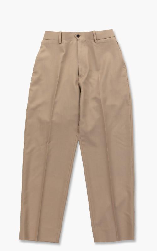 Markaware Organic Wool Tropical Flat Front Trousers Beige