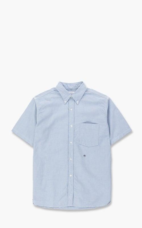 Nanamica Button Down Stripe Wind H/S Shirt Blue