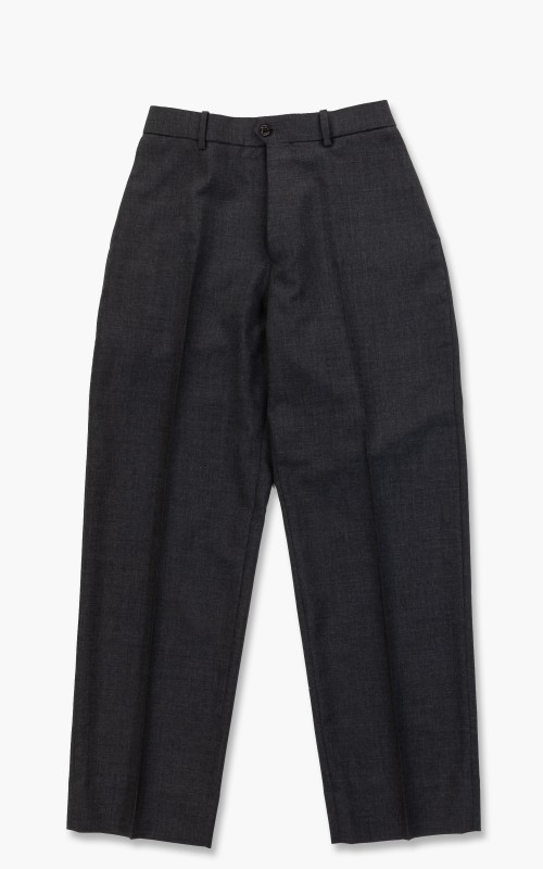 Markaware Organic Wool Tropical Flat Front Trousers Charcoal