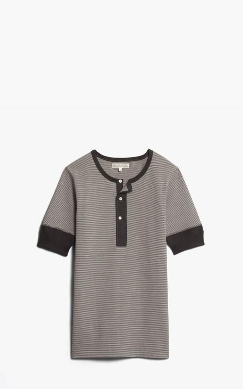 Merz b. Schwanen 227 Button Facing Shirt 1/4 Charcoal/Nature
