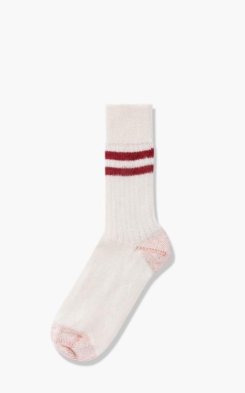 Merz b. Schwanen S75 Retro Sport Socks Nature/Dark Red