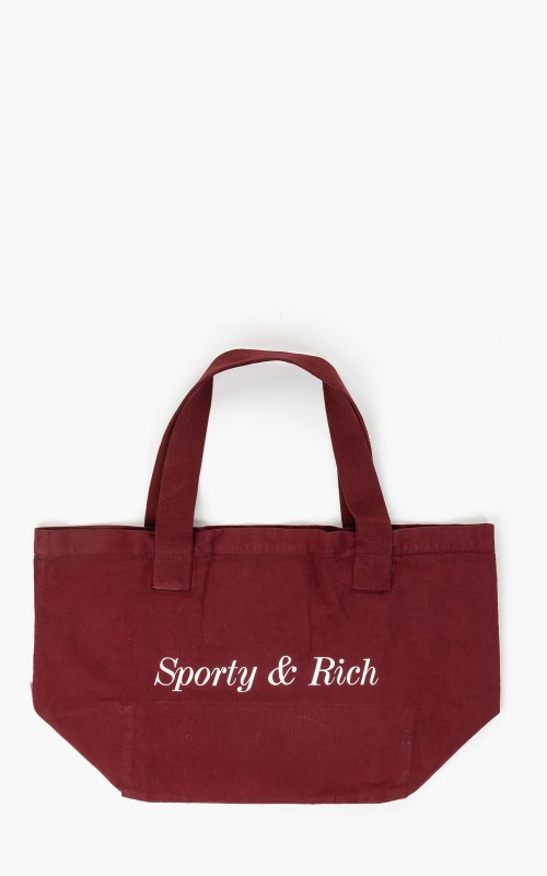 Sporty & Rich Classic Logo Tote Bag Burgundy