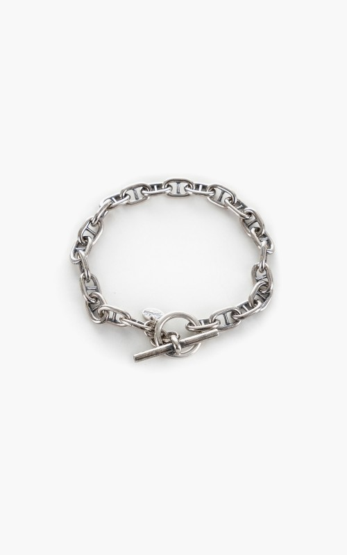 Argentidea 7mm Oxidized Solid Mariner Anchor Chain Bracelet 925 Sterling Silver