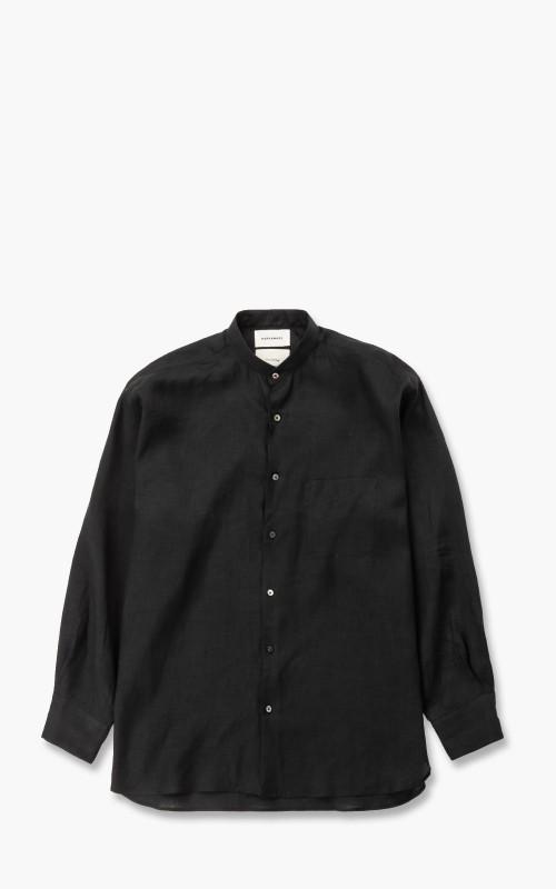 Markaware Hemp Comfort Fit Band Collar Shirt Black